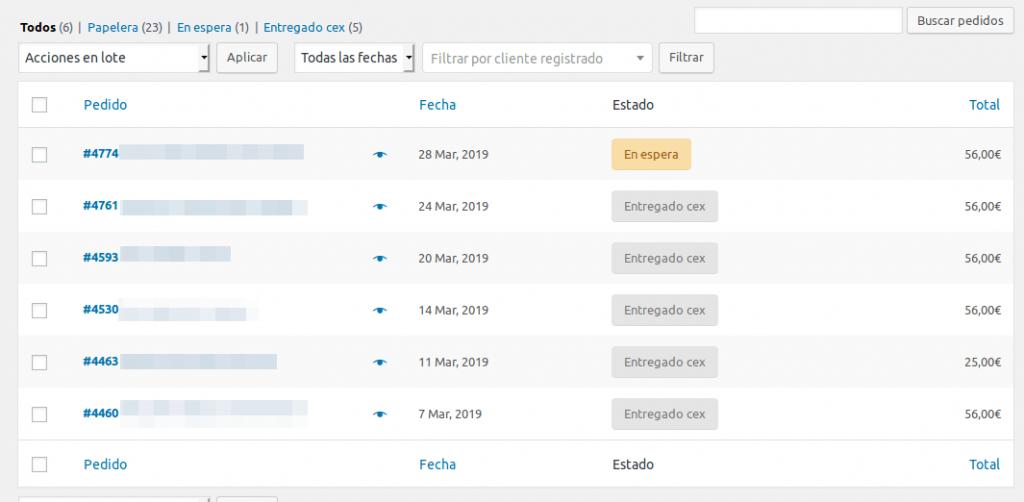 Así se ven los pedidos realizados a través de WooCommerce