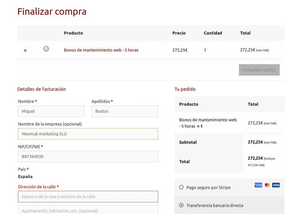 Ejemplo de página de pago de WooCommerce sin distracciones